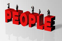 People Concept Illustrated by People Word and Group of People, 3D Rendering - stock illustration