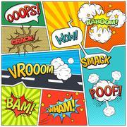 Comics Book Page Bubbles Composition Print Stock Illustration