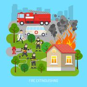 Firemen At Work Concept Flat Poster - stock illustration