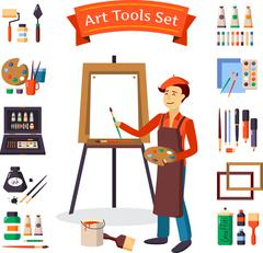 Artist And Art Tools Set - stock illustration