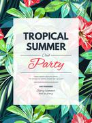 Bright hawaiian design with tropical plants and hibiscus flowers - stock illustration