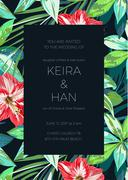 Wedding invitaion or card design with exotic tropical flowers and leaves Stock Illustration