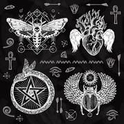 Chalkboard Tattoo Set - stock illustration