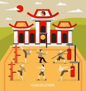 Chinese Temple Martial Arts Composition - stock illustration