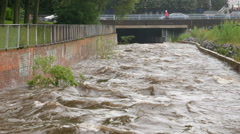 River Rea in full spate in Birmingham. Stock Footage