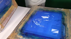 Screen print with Blue ink - stock footage
