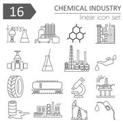 Chemical industry icon set. Thin line icon design - stock illustration