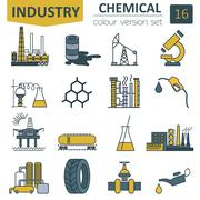 Chemical industry icon set. Colour version design Stock Illustration