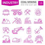 Coal mining icon set. Thin line icon design - stock illustration