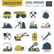 Coal mining icon set. Colour version design - stock illustration