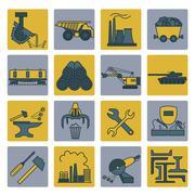 Metallurgy icon set. Colour version design - stock illustration