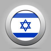 metal button with flag of Israel - stock illustration