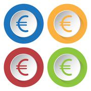 Set of four icons - euro currency symbol Stock Illustration