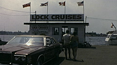 Canada 1975: people before boarding in a sightseeing cruise Stock Footage