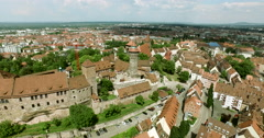 Long aerial shot over the old city of Nürnberg Stock Footage