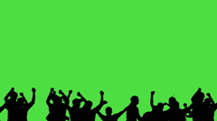 Crowd of fans dancing on green screen. Concert, Jumping, Dancing, Hands up Stock Footage