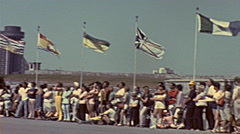 Montreal 1975: visitors in front of a soldier parade Stock Footage