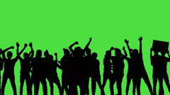 A crowd of dancing people, all in silhouette, on a greenscreen Stock Footage