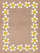 Plumeria Frame on Sand - stock illustration