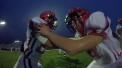 Football Linebacker Drill in Slow Motion Stock Footage