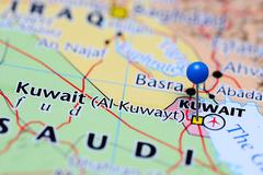 Kuwait pinned on a map of Asia - stock photo