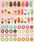 Huge collection of 28 ice creams and 32 donuts, delicious and tasty treats Stock Illustration