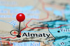 Almaty pinned on a map of Kazakhstan Stock Photos