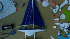 4k holiday and travel composition with a boat toy - stock footage