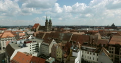 Flying from the church Lorenz to the old city of Nürnberg Stock Footage