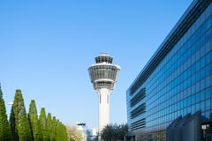 Munich international passenger airport control tower and terminal buildings Stock Photos