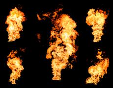 Blazing fire raging flame of burning gas or oil collection Stock Photos