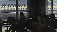 Toronto 1975: people waiting in the lounge of the airport Stock Footage