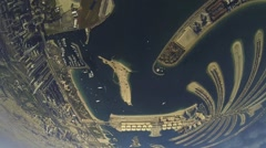 Professional skydiver parachuting above coast of Dubai. Extreme. Ocean. City - stock footage