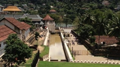 View to the Temple of Tooth (Dalada Maligava) in Kandy, Sri Lanka. Stock Footage