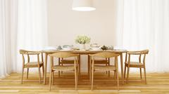 Dining room wooden style and clean design  - 3D Rendering Stock Illustration