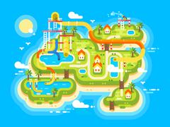 Aquapark plan flat Stock Illustration