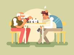 People play chess - stock illustration