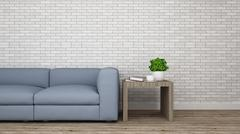 Living room and brick wall decoration-3D Rendering - stock illustration