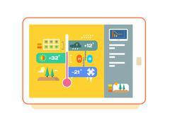 Weather application UI design - stock illustration