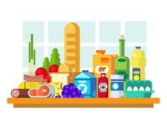 Food set on the table Stock Illustration