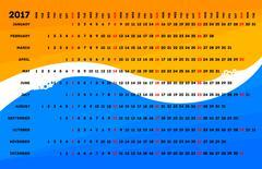 Linear calendar 2017 Stock Illustration