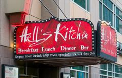 Hell's Kitchen-Minneapolis Restaurant  Exterior and Sign - stock photo