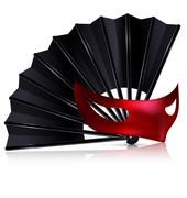 black fan and red mask - stock illustration