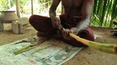 Man demonstrates traditional cinnamon production in Madu Ganga, Sri Lanka. - stock footage