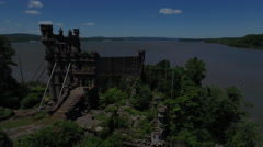 Bannerman Castle Pollepel Island armory spin right Stock Footage