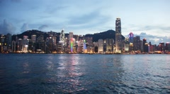 Hong Kong - AUGUST 1, 2014: Hong Kong bay on August 1 in Hong Kong, China. Hong Stock Footage