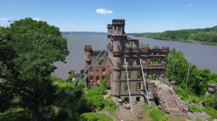 Bannerman Castle Pollepel Island armory fly back short Stock Footage