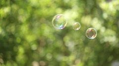 Large soap bubbles floating Stock Footage