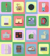 household appliances for kitchen flat icons vector illustration - stock illustration