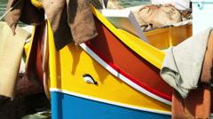Marsaxlokk traditional fishers boat. Stock Footage